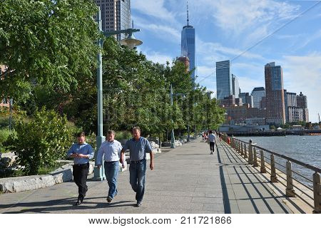 NEW YORK CITY USA - AUG. 23 : Hudson River Park on August 23 2017 in New York City NY. Hudson River Park is a waterside park on the North River in New York City.