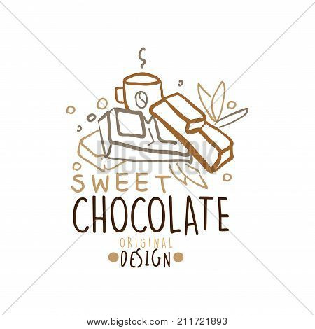 Choco sweets shop hand drawn logo template design with chocolate bar and hot coffee. Business or company label for menu cover, print, card, brand identity. Badge with lettering. Doodle vector on white