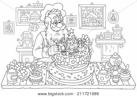 Santa Claus cooking a fancy Christmas cake in his kitchen