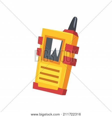 Cartoon miner's walkie talkie with yellow body. Device for communication with screen, speaker, antenna. Portable gadget for contact at distance. Flat vector illustration isolated on white background.