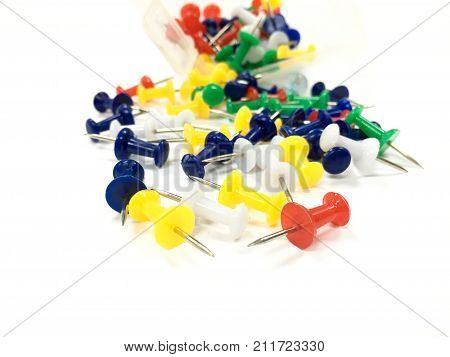 drawing pin isolated on white background. multi color of push pin for use office work