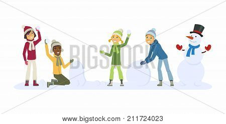 Happy international children play outdoors - cartoon people characters illustration. Smiling boys and girls throwing snowballs and building a snowman. Concept of winter activities, New Year, Christmas