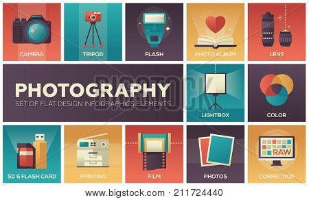 Photography - set of flat design infographics elements. Colorful square icons with description. Camera, tripod, flash, album, lens, lightbox, color, sd and flash card, printing, film, correction