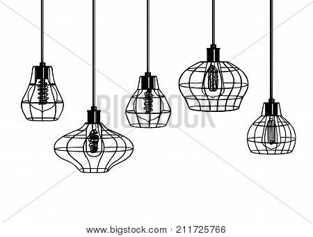 Industrial style retro pendant lights. Set of vintage pendant lamps. Hanging lamp with Edison bulb.  Black and White image free hand line style.  Hand drawn vector set of different geometric loft lamps