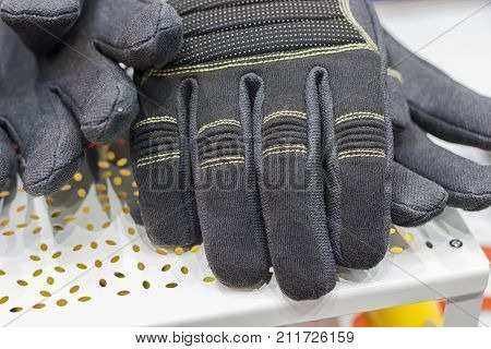 industrial coated cotton Gloves ; selective focus