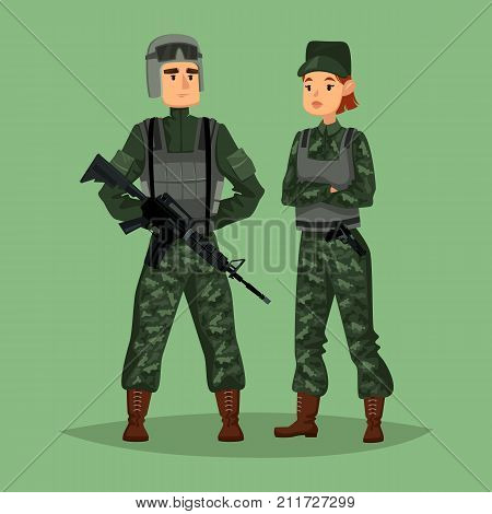 Cartoon soldiers with weapon or gun, rifle, camouflage and body armor or armour, helmet. Military man and woman, army people or american, US special forces. Work and warrior, commando theme poster