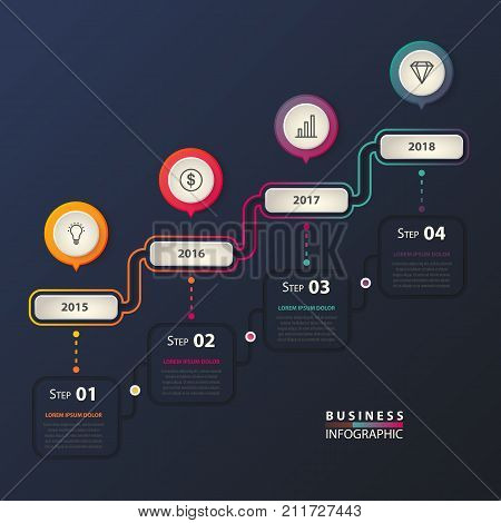 Infographic for business with timeline for plans. Years with icons of diamond and bar chart or graph, lamp and dollar sign. Calendar for business plan. Marketing and management, work and job theme