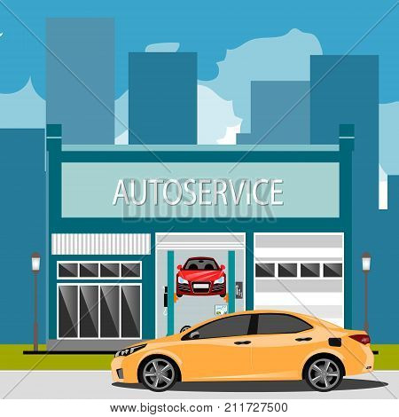Car repair maintenance auto service station with auto. Vector illustration