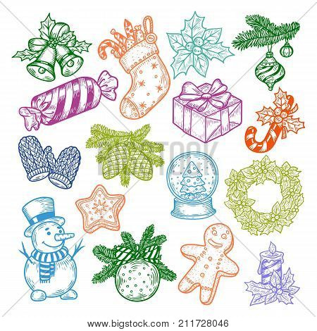 Sketch Set of isolated new year or christmas sweeties. Bubbles and decorations for fir-tree, sock with candy and laurel wreath, star and snowman, waterglobe or snowdome, cone. Merry xmas, winter theme