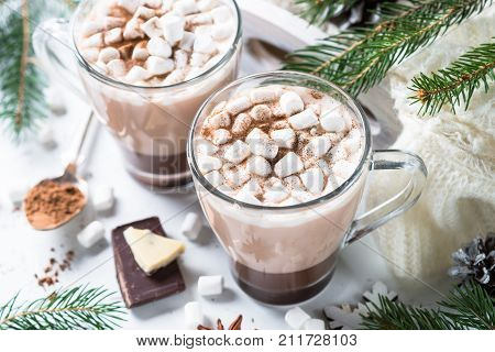 Winter hot drink. Christmas hot chocolate or cocoa with marshmallow on white with christmas decorations.