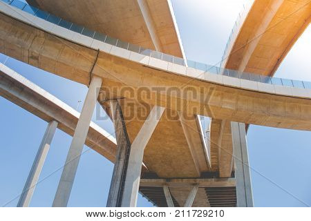 Bridge of Industrial Rings or Bhumibol Bridge is concrete highway road junction and interchange overpass and cross the Chao Phraya River, Thailand.