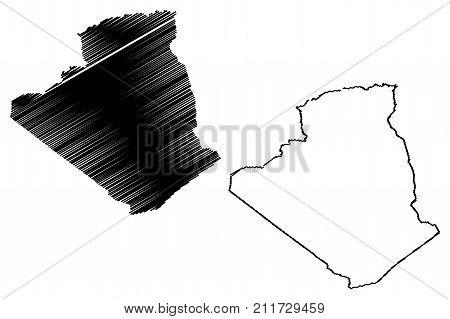 Algeria map vector illustration , scribble sketch Algiers
