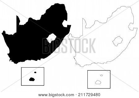 South Africa map vector illustration , scribble sketch FSA , Prince Edward , Island Marion Island