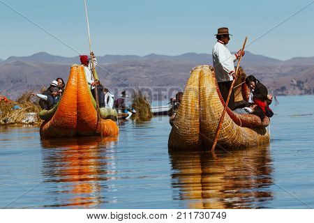 Puno Peru - July 30 2017:Totora boat on the Titicaca lake near Puno Peru