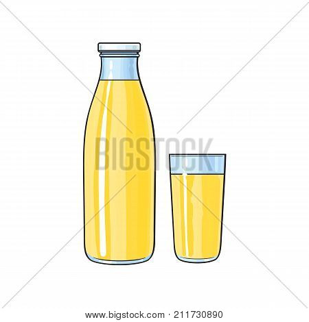 Vector cartoon glass bottle and cup of lemon fresh fruit juice. Isolated illustration on a white background. Soft drink, refreshing lemonade beverage image.