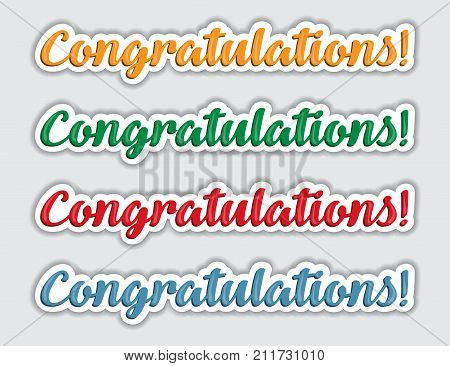 Congratulations. Lettering greeting card scratched calligraphy text word
