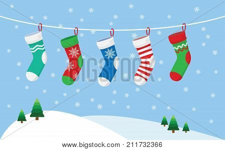 Christmas stockings for presents hanging on a rope. vector illustration