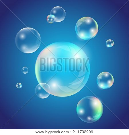 Transparent soap or water bubbles. Realistic soap bubbles with rainbow reflection set isolated vector illustration
