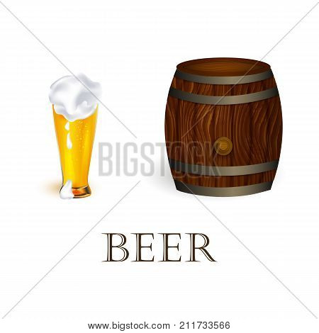 vector realistic beer wooden oak keg barrel with iron rings, glass mug of lager golden drink with thick foam set. Ready for your design product mockup. Isolated illustration on a white background