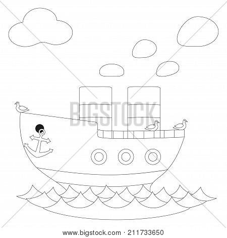 Retro steam ship black and white vector poster. Coloring book page for adults and kids. Illustration with steamship, seagull bird, sea ocean pond water for gift card, flyer, certificate or banner.