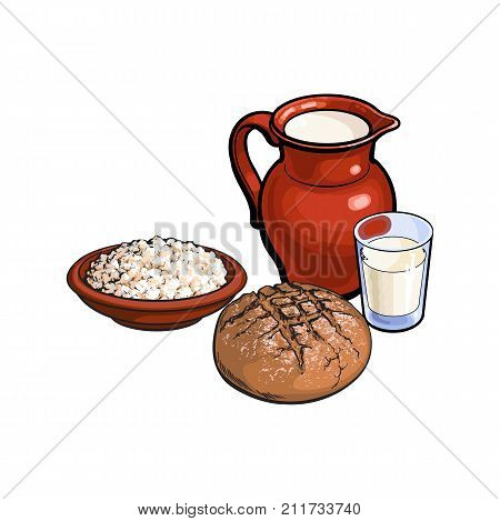 vector sketch glass of milk and ceramic pitcher jug crock, cottage cheese in pot, dark bread loaf set. Isolated illustration on a white background. Healthy food dairy products, natural dieting concept