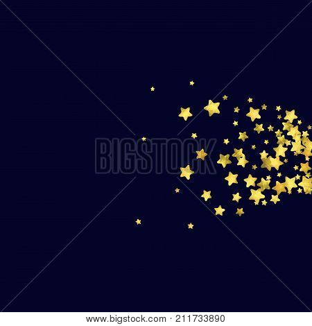 Star confetti isolated on black background. Falling magic particles. Celebration card template with watercolor flying gold elements. Christmas party invitation mock up. Starry explosion backdrop.