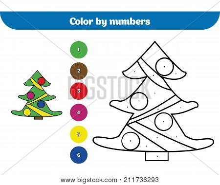 Color by number education game for children. Coloring page drawing kids activity Christmas Xmas and New Year holidays design