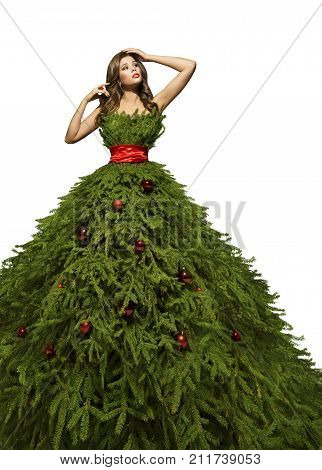 Christmas Tree Dress Woman Posing in Xmas Fashion Model Gown New Year Girl Costume Isolated over White background