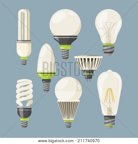 Incandescent bulbs, halogen and other different types. Vector pictures in cartoon style. Lamp bulb electric halogen, lightbulb power invention illustration