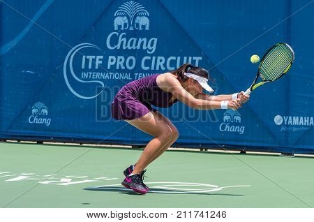 BANGKOK MAY 27 : Zi Yang of China action in Chang ITF Pro Circuit 4 International Tennis Federation 2015 on WS main draw at Rama Gardens Hotel on May 27 2015 in Bangkok Thailand.