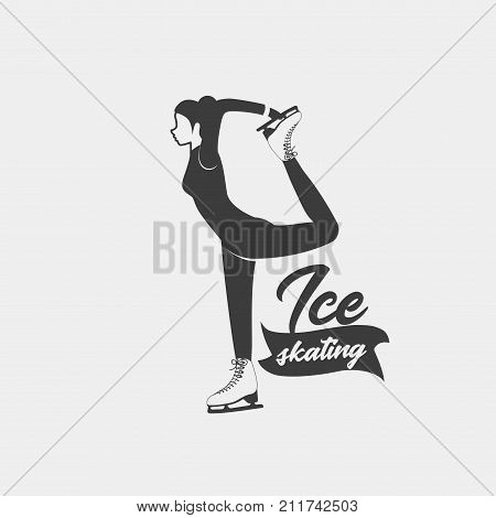 Ice skating badge template. Monochrome symbol. Logo with a woman skating on ice skates. Can be used for social network and web advertising or brand promotion.