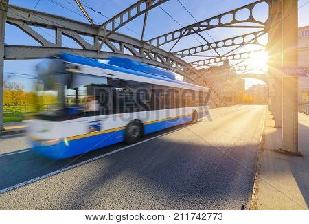 A trolley bus in old town of Ostrava in sunset time. Czech Republic Europe.