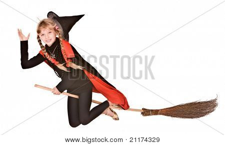 Child girl in costume Halloween witch in black dress and hat fly on broom.Isolated.