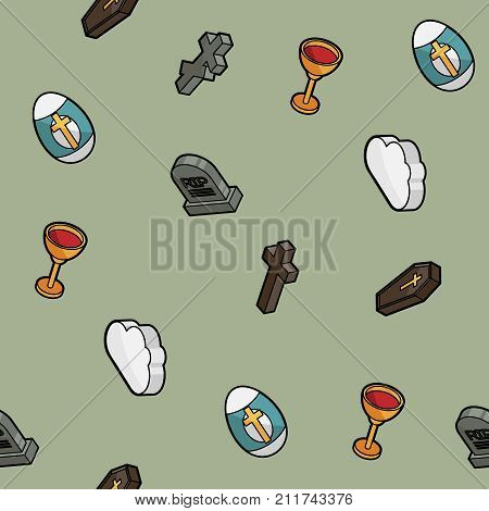 Christianity color outline isometric pattern. Vector illustration, EPS 10