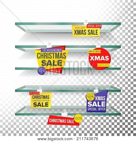 Supermarket Shelves, Holidays Christmas Sale Advertising Wobblers Vector. Retail Sticker Concept. Mega Sale Design. Holidays Xmas Best Offer. Discount Sticker. Sale Banners. Isolated Illustration