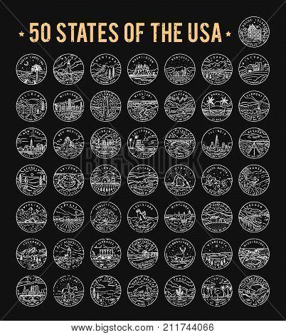 50 States of the USA. Big vector line logo bundle. 1