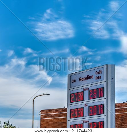 Gas station price billboard in Los Angeles