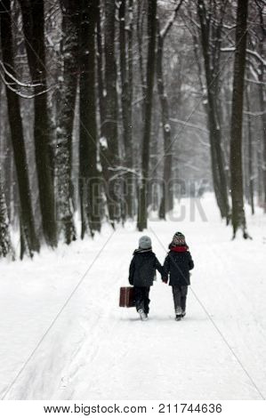 Two Children, Boy Brothers, Walking In A Forest With Old Suitcase