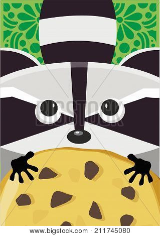 Poster cute raccoon with pitiful galzhes asks for biscuits