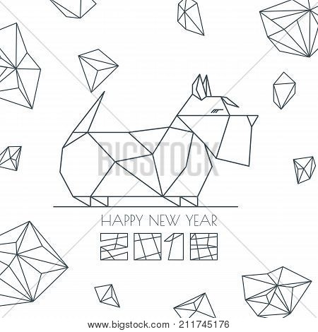 Happy new year 2018 vector photo free trial bigstock happy new year 2018 vector greeting card poster banner with geometric outline dog modern symbol chinese calendar decoration monochrome scottish terrier m4hsunfo
