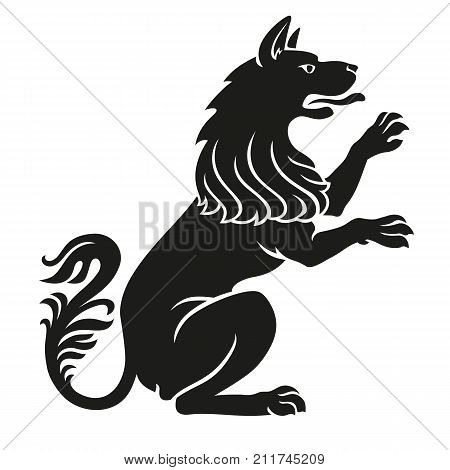 Heraldic pet dog or wolf animal rampant standing on legs black isolated on white background