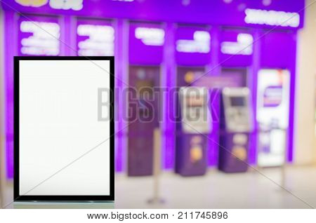 advertising billboard or blank showcase light box for your text message or media content in front of ATM (Automated teller machine) banking machine at bank commercial and marketing concept