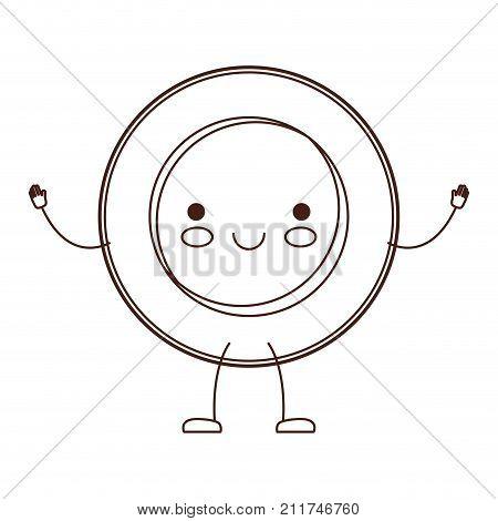 kawaii cartoon dish in brown silhouette vector illustration