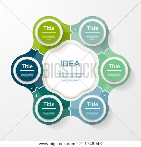 Vector infographic template for diagram graph presentation and chart. Business concept with 6 options parts steps or processes