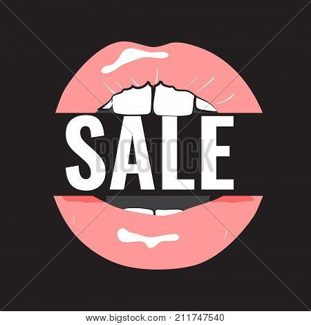 Black Friday sale inscription design template. Clearance inscription icon with pink lips. Fashion glamour female super sale banner. Discount label. Trendy digital shopping advertising