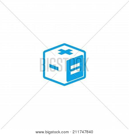 Calculator Logo Creative Mathematics App Isometric Logotype, 3D Cube Geometric Shape With Mathematic