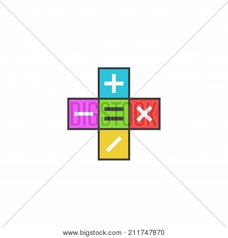 Math Calculator Logo, Mathematical Symbols Plus, Minus, Subtract, Multiply, Equals Icon On The Color