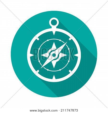 Compass circle icon with long shadow. Flat design style. Compass simple silhouette. Modern minimalist round icon in stylish colors. Web site page and mobile app design vector element.