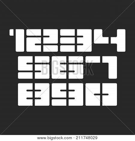 Numbers Set, Sports T-shirt Print Numbers Stencil Black And White Bold Stylish Font, Typography Desi