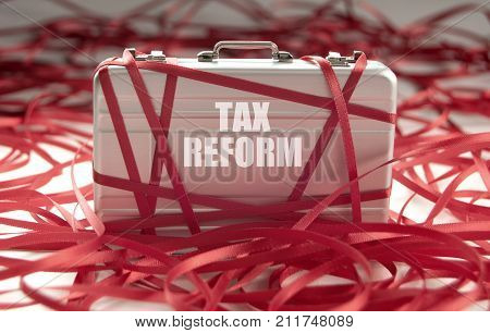 Red tape around a briefcase with tax reform
